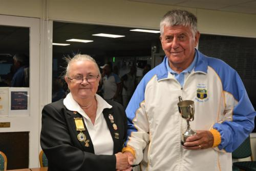 Torpoint Captain receives runners up trophy from Jennie Dyer
